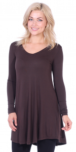 Women's Tunic Tops For Leggings - Long Sleeve Vneck Shirt - Regular and Plus Size - Made in USA - Brown