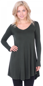 Women's Tunic Tops For Leggings - Long Sleeve Vneck Shirt - Regular and Plus Size - Made in USA - Olive