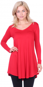 Women's Tunic Tops For Leggings - Long Sleeve Vneck Shirt - Regular and Plus Size - Made in USA - Red