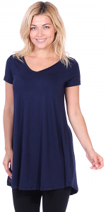 Women's Tunic Top Dress Short Sleeve - Wear With Leggings in Regular and Plus Size - Made In USA - Navy