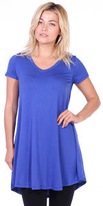 Women's Tunic Top Dress Short Sleeve - Wear With Leggings in Regular and Plus Size - Made In USA - Royal