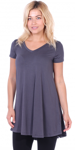 Women's Tunic Top Dress Short Sleeve - Wear With Leggings in Regular and Plus Size - Made In USA - Slate