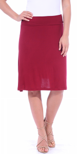 Short Maxi Skirt - Knee Length Fold Over High Waisted Midi Skirt - Made in USA - Burgundy