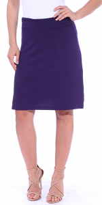 Short Maxi Skirt - Knee Length Fold Over High Waisted Midi Skirt - Made in USA - Eggplant