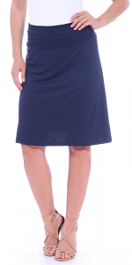 Short Maxi Skirt - Knee Length Fold Over High Waisted Midi Skirt - Made in USA - Navy