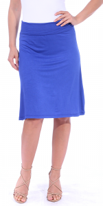 Short Maxi Skirt - Knee Length Fold Over High Waisted Midi Skirt - Made in USA - Royal