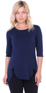 Women's Tunic Tops to Wear with Leggings 3/4 Sleeve - Made In USA - Navy