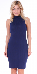 Womens Sleeveless Mock-neck Bodycon Ribbed Midi Dress Made In USA