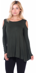 Open Cut Out Cold Shoulder Tunic Top for Women - Long Sleeve Top for Leggings - Made In USA - Olive