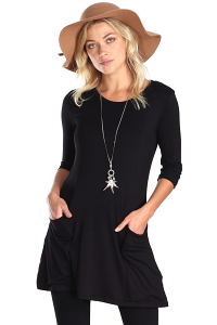 Women's 3/4 Sleeve Tunic With Pockets - Made in USA - Black