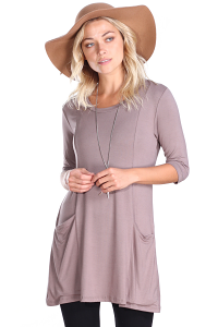 Women's 3/4 Sleeve Tunic With Pockets - Made in USA - Toffee
