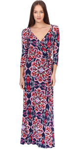 Maxi Dress With Sleeves - Casual Colorful Floral Summer Wedding Prints - Made In USA - ST33