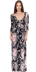 Maxi Dress With Sleeves - Casual Colorful Floral Summer Wedding Prints - Made In USA - ST57