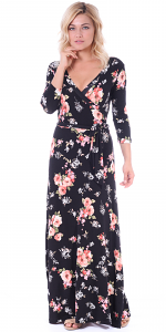 Maxi Dress With Sleeves - Casual Colorful Floral Summer Wedding Prints - Made In USA - ST75