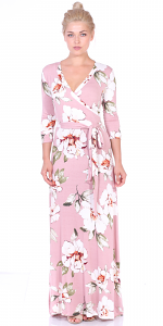 Maxi Dress With Sleeves - Casual Colorful Floral Summer Wedding Prints - Made In USA - ST87