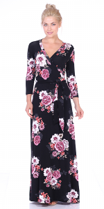 Maxi Dress With Sleeves - Casual Colorful Floral Summer Wedding Prints - Made In USA - ST90