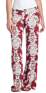 Print Palazzo Pants - Made in USA - Burgundy