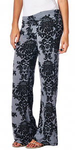 Print Palazzo Pants - Made in USA - Gray