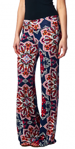 Print Palazzo Pants - Made in USA - ST24