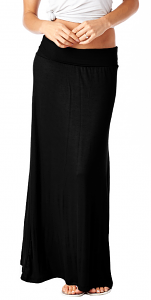 Comfortable Fold-Over Maxi Skirt - Made in USA - Black