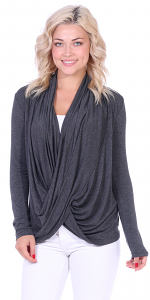Long Sleeve Criss Cross Cardigan Also in Plus - Made In USA - Charcoal