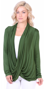 Long Sleeve Criss Cross Cardigan Also in Plus - Made In USA - Olive