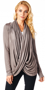 Long Sleeve Criss Cross Cardigan Also in Plus - Made In USA - Toffee