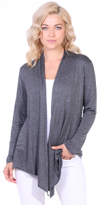 Super-Soft Open Front Drape Cardigan - Made In USA - Charcoal