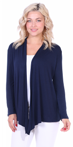 Super-Soft Open Front Drape Cardigan - Made In USA - Navy