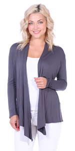 Super-Soft Open Front Drape Cardigan - Made In USA - Slate