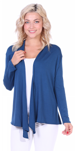 Super-Soft Open Front Drape Cardigan - Made In USA - Teal
