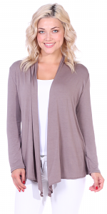 Super-Soft Open Front Drape Cardigan - Made In USA - Toffee