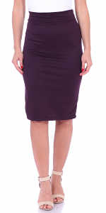 Women's High Waist Knee Length Stretch Pencil Skirt - Ladies Shaping Midi Skirt for Work or Office - Made In USA - Eggplant
