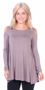 Open Cut Out Cold Shoulder Tunic Top for Women - Long Sleeve Top for Leggings - Made In USA - Toffee
