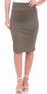 Women's High Waist Knee Length Stretch Pencil Skirt - Ladies Shaping Midi Skirt for Work or Office - Made In USA - Olive