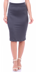 Women's High Waist Knee Length Stretch Pencil Skirt - Ladies Shaping Midi Skirt for Work or Office - Made In USA - Slate