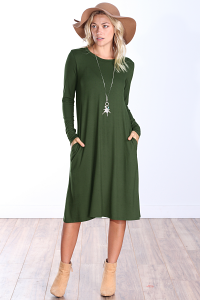 Womens Below the Knee Long Sleeve Swing Dress with Pockets - Made In USA ( Olive )
