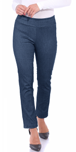 Pull On Pants For Women Ankle Length - Casual Mid Rise Stretch Office Work Pants - Denim