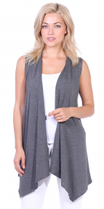Women's Sleeveless Long Drape Cardigan Plus Size Available - Made In USA - Charcoal