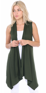 Women's Sleeveless Long Drape Cardigan Plus Size Available - Made In USA - Olive