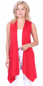 Women's Sleeveless Long Drape Cardigan Plus Size Available - Made In USA - Red