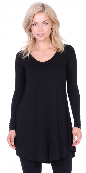 Women's Tunic Tops For Leggings - Long Sleeve Vneck Shirt - Regular and Plus Size - Made in USA - Black