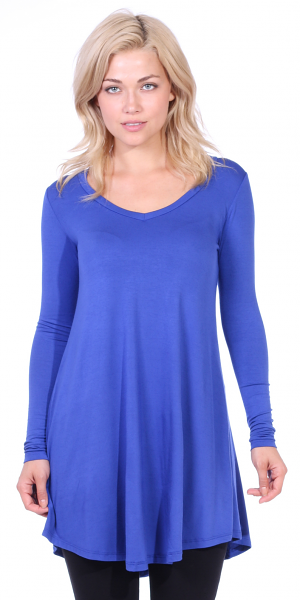 Women's Tunic Tops For Leggings - Long Sleeve Vneck Shirt - Regular and Plus Size - Made in USA - Royal
