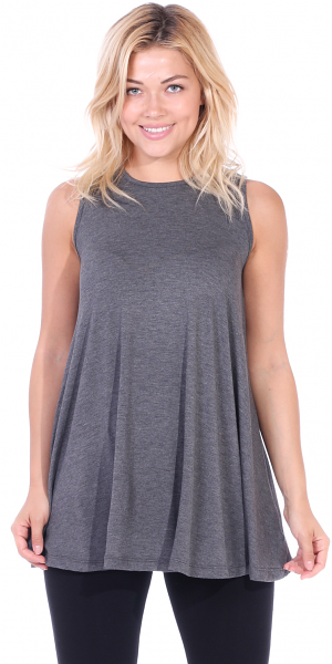 Women's Sleeveless Tank Top Tunic - Loose Fit Flowy Tunic Tank For Leggings - Made In USA - Charcoal