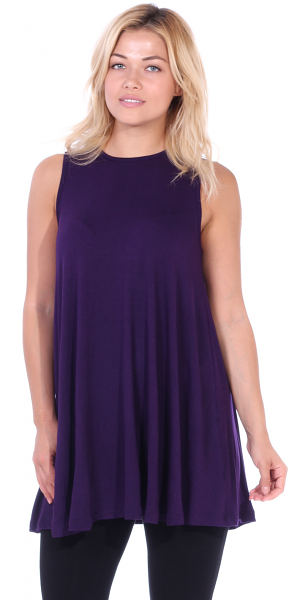 Women's Sleeveless Tank Top Tunic - Loose Fit Flowy Tunic Tank For Leggings - Made In USA - Eggplant