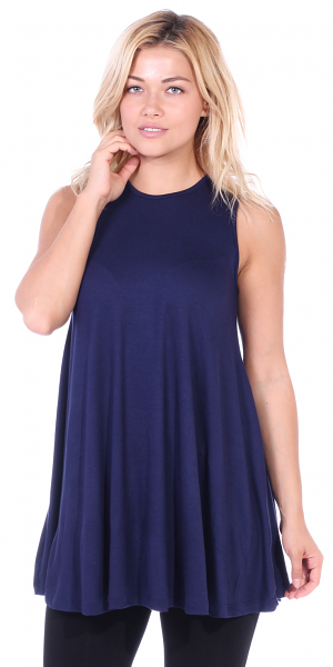 Women's Sleeveless Tank Top Tunic - Loose Fit Flowy Tunic Tank For Leggings - Made In USA - Navy