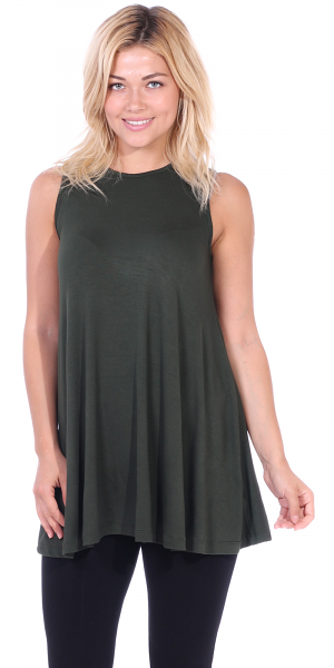 Women's Sleeveless Tank Top Tunic - Loose Fit Flowy Tunic Tank For Leggings - Made In USA - Olive