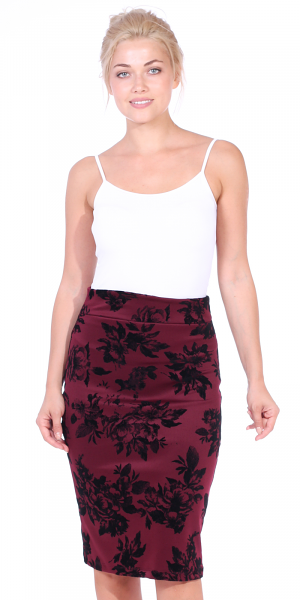 Womens Stretch Pencil Skirt Knee Length for Work or Office - Shaping Bodycon Midi Skirt - Made In USA - Burgundy