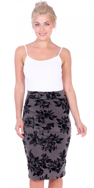Womens Stretch Pencil Skirt Knee Length for Work or Office - Shaping Bodycon Midi Skirt - Made In USA - Slate