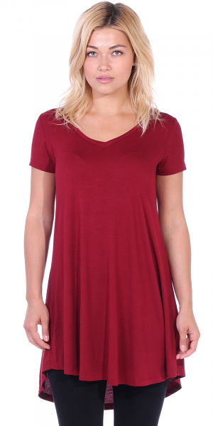 Women's Tunic Top Dress Short Sleeve - Wear With Leggings in Regular and Plus Size - Made In USA - Burgundy